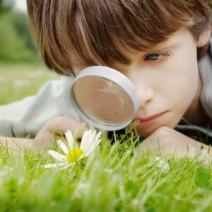 Niño viendo a través de una lupa.