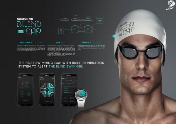 Así es la gorra de natación para ciegos