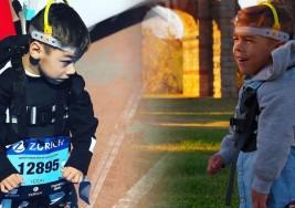 Con seis años y parálisis cerebral, cruza la meta de la maratón de Sevilla aunque los médicos dijeron que nunca correría