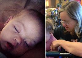 Cajera con síndrome de Down ve a un bebé y hace algo que deja a la madre de la criatura sin palabras