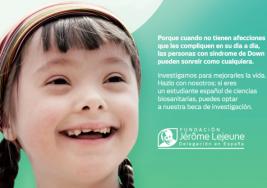 La Fundación Jérôme Lejeune convoca por segundo año una beca para investigar sobre síndrome de Down